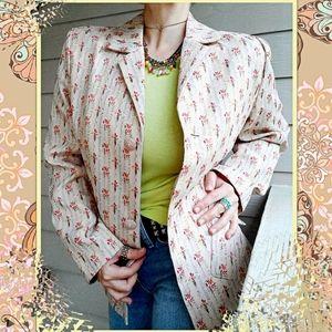 Sag Harbor Vintage Ditsy Floral Brocade Blazer